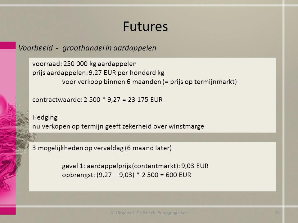 Futures © Uitgeverij De Boeck Beleggingsleer voorraad: 250 000 kg aardappelen prijs aardappelen: 9,27 EUR per honderd kg voor verkoop binnen 6 maanden (= prijs op termijnmarkt) contractwaarde: 2 500 * 9,27 = 23 175 EUR Hedging nu verkopen op termijn geeft zekerheid over winstmarge Voorbeeld - groothandel in aardappelen 3 mogelijkheden op vervaldag (6 maand later) geval 1: aardappelprijs (contantmarkt): 9,03 EUR opbrengst: (9,27 – 9,03) * 2 500 = 600 EUR 81