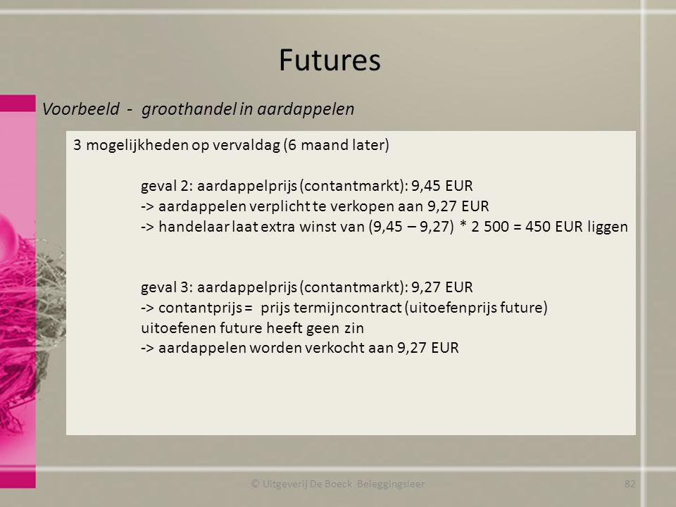 Futures © Uitgeverij De Boeck Beleggingsleer Voorbeeld - groothandel in aardappelen 3 mogelijkheden op vervaldag (6 maand later) geval 2: aardappelprijs (contantmarkt): 9,45 EUR -> aardappelen verplicht te verkopen aan 9,27 EUR -> handelaar laat extra winst van (9,45 – 9,27) * 2 500 = 450 EUR liggen geval 3: aardappelprijs (contantmarkt): 9,27 EUR -> contantprijs = prijs termijncontract (uitoefenprijs future) uitoefenen future heeft geen zin -> aardappelen worden verkocht aan 9,27 EUR 82