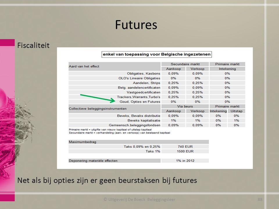 Fiscaliteit Net als bij opties zijn er geen beurstaksen bij futures Futures © Uitgeverij De Boeck Beleggingsleer88