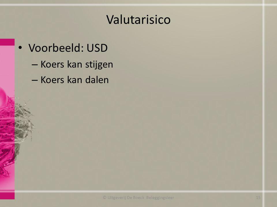 Valutarisico Voorbeeld: USD – Koers kan stijgen – Koers kan dalen © Uitgeverij De Boeck Beleggingsleer15