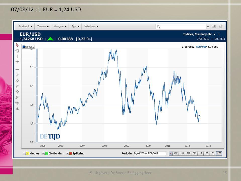 07/08/12 : 1 EUR = 1,24 USD © Uitgeverij De Boeck Beleggingsleer16