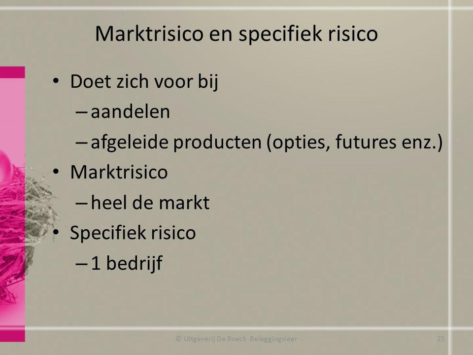 Marktrisico en specifiek risico Doet zich voor bij – aandelen – afgeleide producten (opties, futures enz.) Marktrisico – heel de markt Specifiek risic