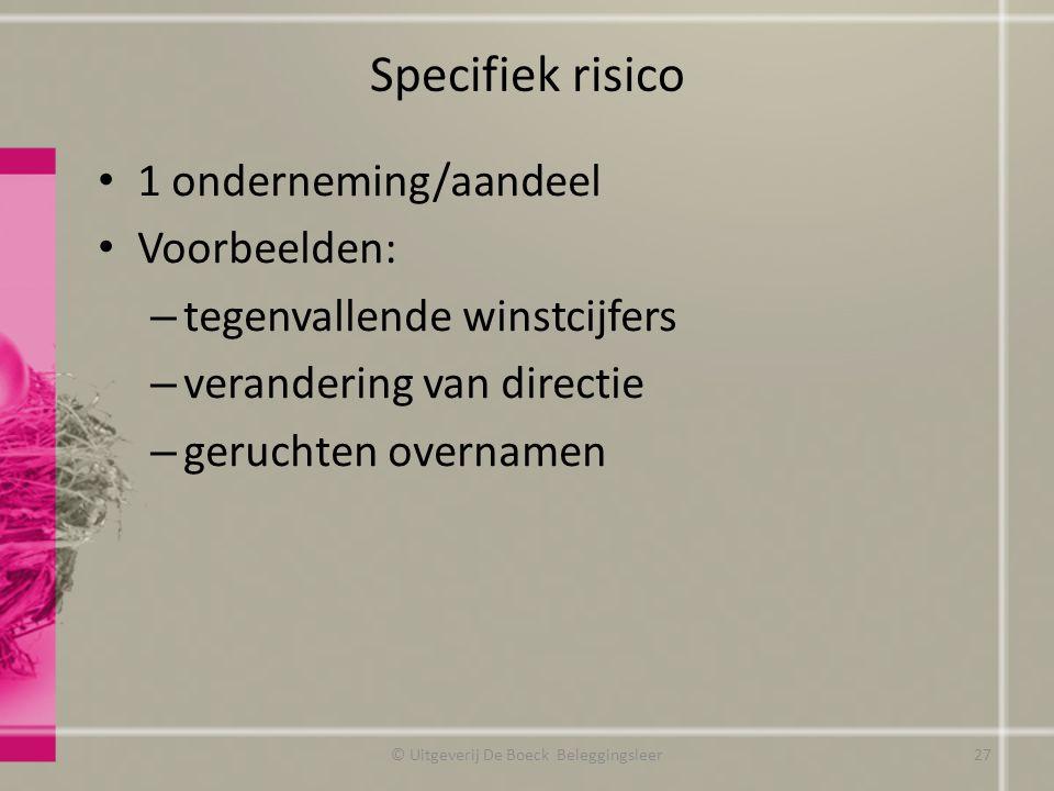 Specifiek risico 1 onderneming/aandeel Voorbeelden: – tegenvallende winstcijfers – verandering van directie – geruchten overnamen © Uitgeverij De Boec