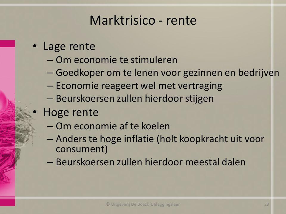 Marktrisico - rente Lage rente – Om economie te stimuleren – Goedkoper om te lenen voor gezinnen en bedrijven – Economie reageert wel met vertraging –