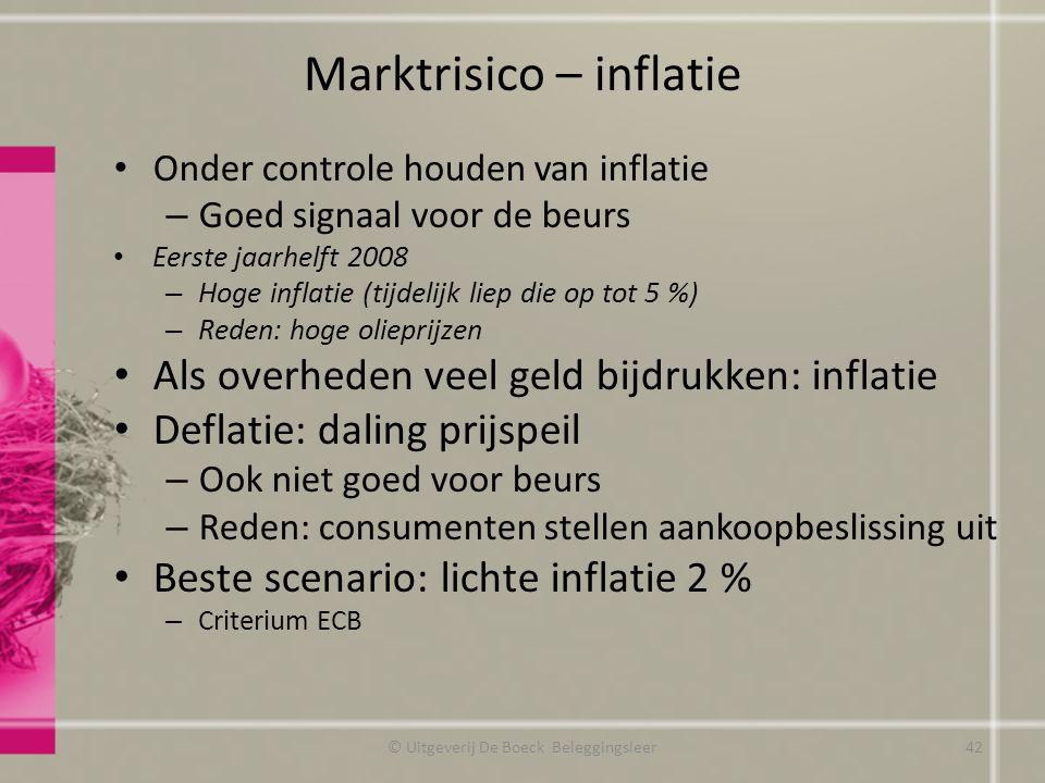 Marktrisico – inflatie Onder controle houden van inflatie – Goed signaal voor de beurs Eerste jaarhelft 2008 – Hoge inflatie (tijdelijk liep die op to