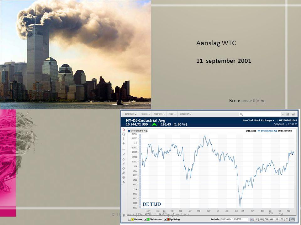 Aanslag WTC 11 september 2001 Bron: www.tijd.bewww.tijd.be © Uitgeverij De Boeck Beleggingsleer44