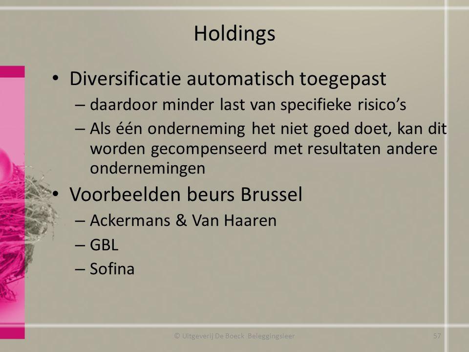 Holdings Diversificatie automatisch toegepast – daardoor minder last van specifieke risico's – Als één onderneming het niet goed doet, kan dit worden
