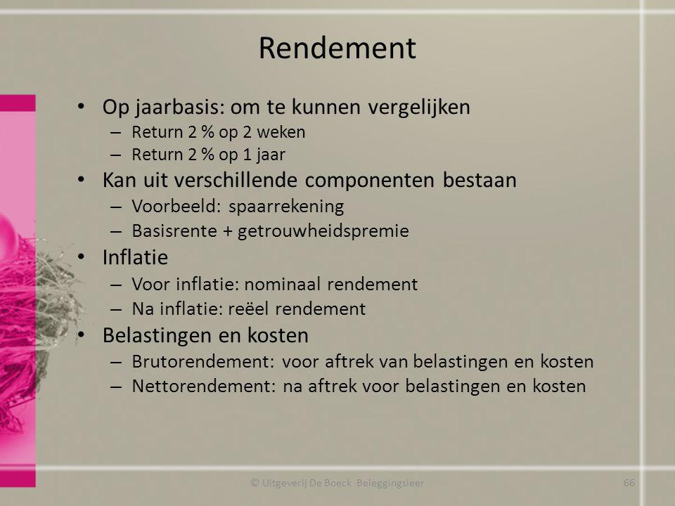 Rendement Op jaarbasis: om te kunnen vergelijken – Return 2 % op 2 weken – Return 2 % op 1 jaar Kan uit verschillende componenten bestaan – Voorbeeld: