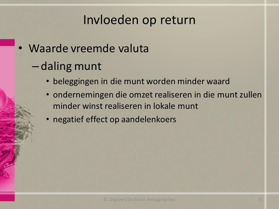Invloeden op return Waarde vreemde valuta – daling munt beleggingen in die munt worden minder waard ondernemingen die omzet realiseren in die munt zul