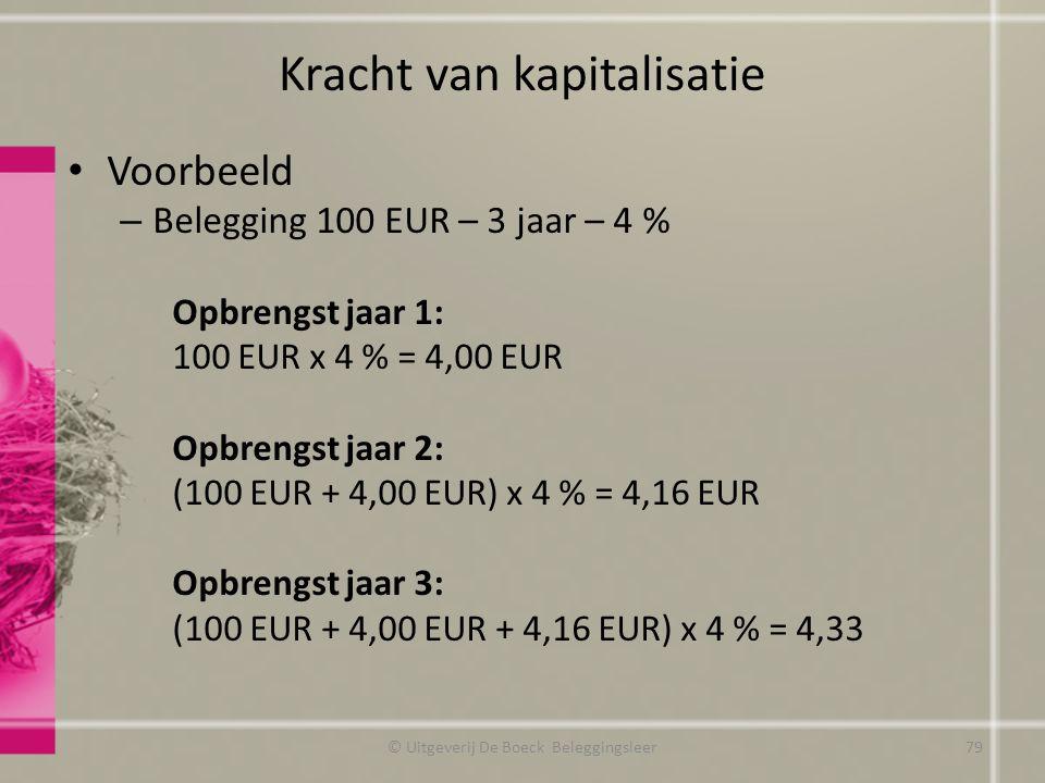 Kracht van kapitalisatie Voorbeeld – Belegging 100 EUR – 3 jaar – 4 % Opbrengst jaar 1: 100 EUR x 4 % = 4,00 EUR Opbrengst jaar 2: (100 EUR + 4,00 EUR