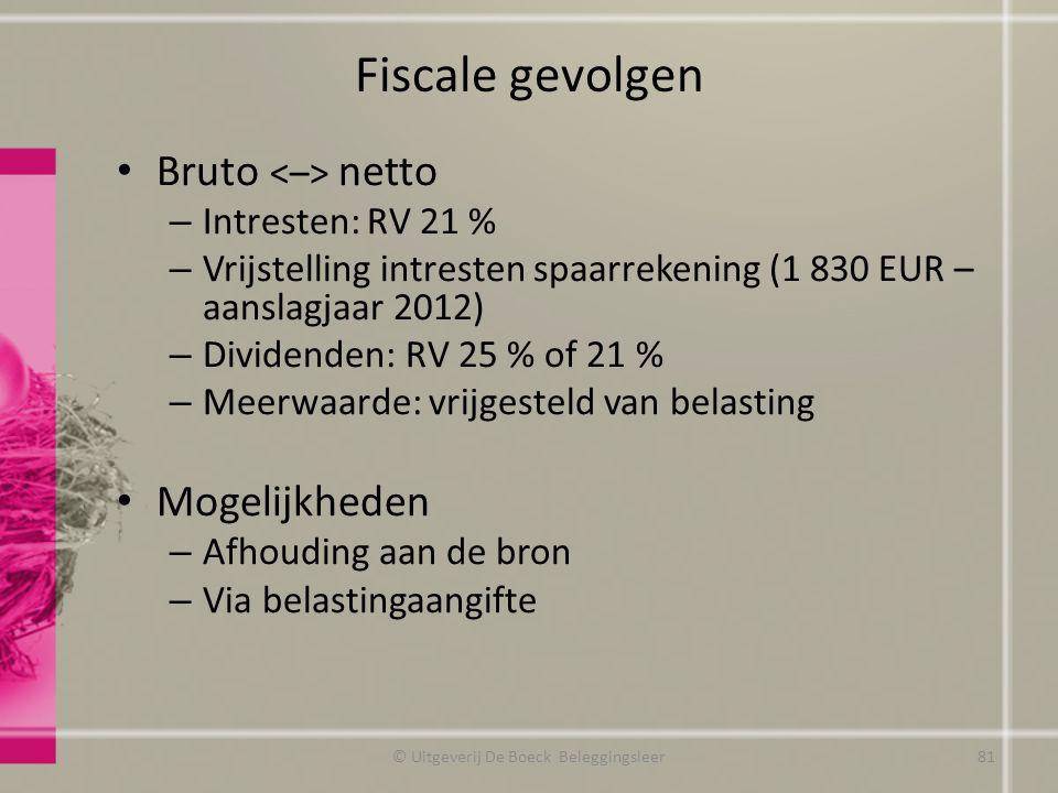 Fiscale gevolgen Bruto netto – Intresten: RV 21 % – Vrijstelling intresten spaarrekening (1 830 EUR – aanslagjaar 2012) – Dividenden: RV 25 % of 21 %