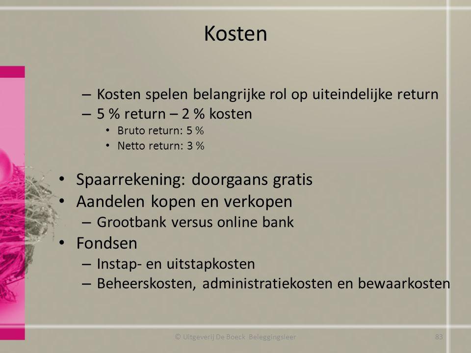 Kosten – Kosten spelen belangrijke rol op uiteindelijke return – 5 % return – 2 % kosten Bruto return: 5 % Netto return: 3 % Spaarrekening: doorgaans