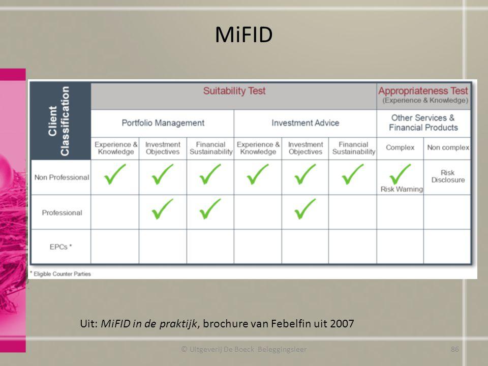 MiFID Uit: MiFID in de praktijk, brochure van Febelfin uit 2007 © Uitgeverij De Boeck Beleggingsleer86