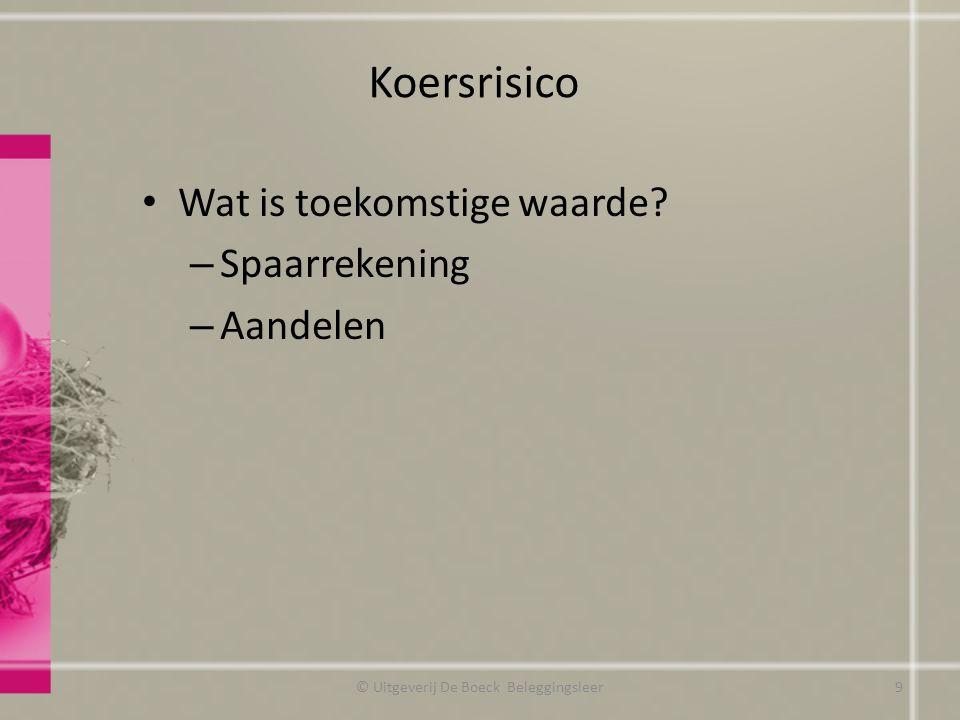 Koersrisico Wat is toekomstige waarde? – Spaarrekening – Aandelen © Uitgeverij De Boeck Beleggingsleer9