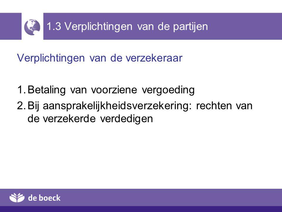 1.3 Verplichtingen van de partijen Verplichtingen van de verzekeraar 1.Betaling van voorziene vergoeding 2.Bij aansprakelijkheidsverzekering: rechten van de verzekerde verdedigen