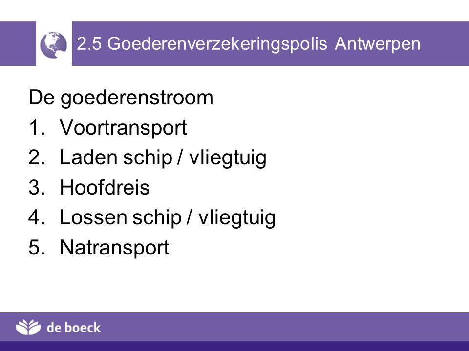2.5 Goederenverzekeringspolis Antwerpen De goederenstroom 1.Voortransport 2.Laden schip / vliegtuig 3.Hoofdreis 4.Lossen schip / vliegtuig 5.Natranspo