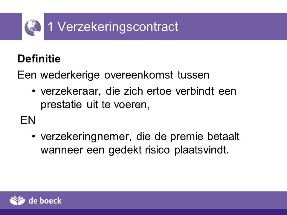 1 Verzekeringscontract Definitie Een wederkerige overeenkomst tussen verzekeraar, die zich ertoe verbindt een prestatie uit te voeren, EN verzekeringnemer, die de premie betaalt wanneer een gedekt risico plaatsvindt.