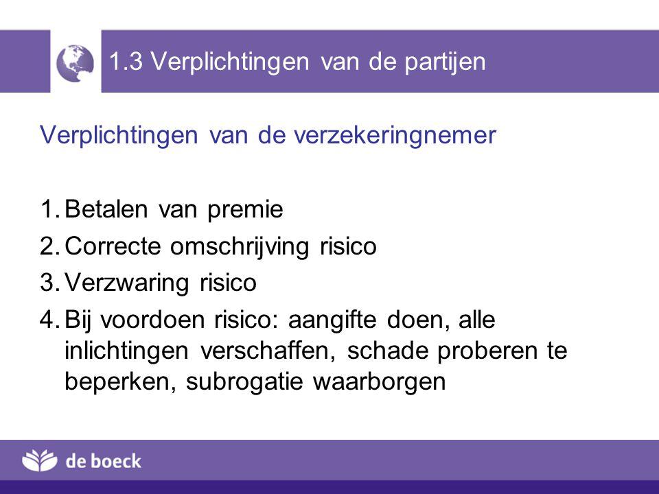 1.3 Verplichtingen van de partijen Verplichtingen van de verzekeringnemer 1.Betalen van premie 2.Correcte omschrijving risico 3.Verzwaring risico 4.Bi