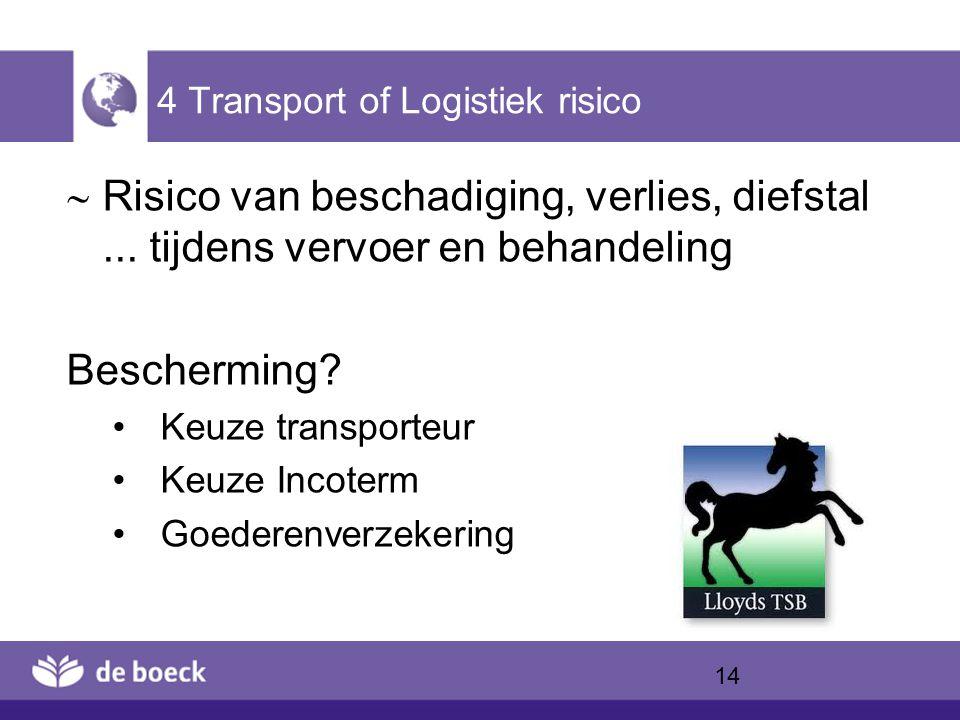 4 Transport of Logistiek risico  Risico van beschadiging, verlies, diefstal... tijdens vervoer en behandeling Bescherming? Keuze transporteur Keuze I