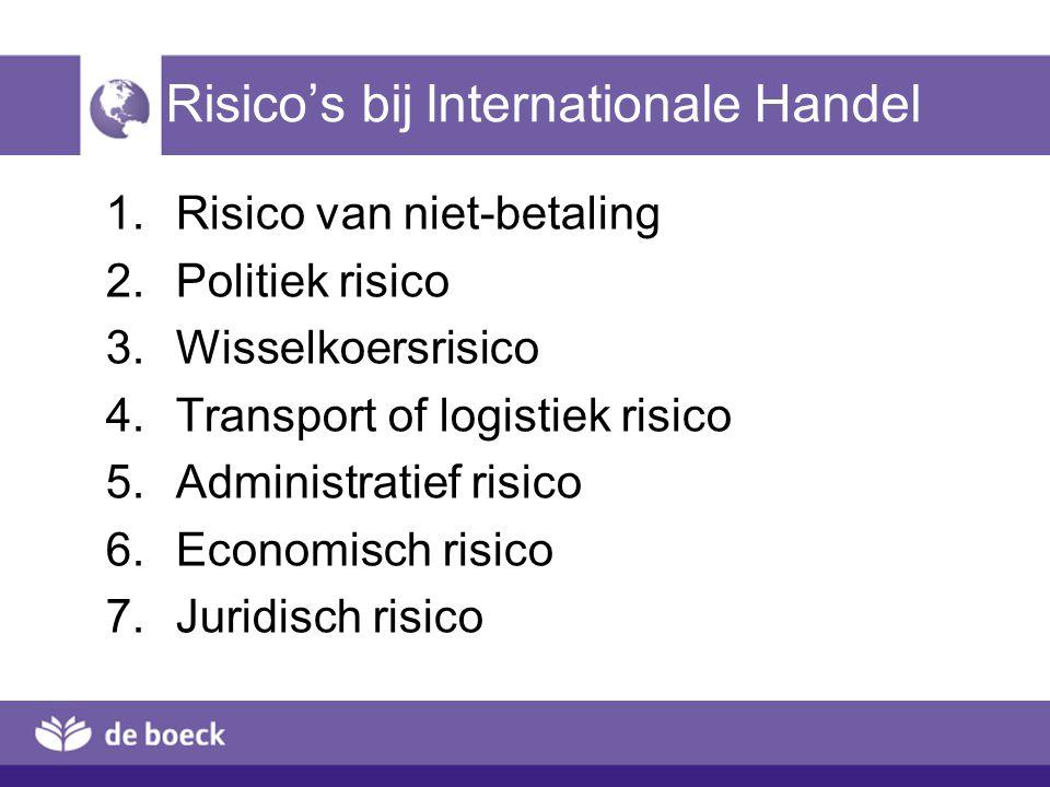 Risico's bij Internationale Handel  Risico van niet-betaling  Politiek risico  Wisselkoersrisico  Transport of logistiek risico  Administrat