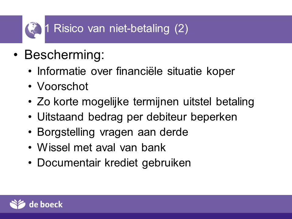 1 Risico van niet-betaling (2) Bescherming: Informatie over financiële situatie koper Voorschot Zo korte mogelijke termijnen uitstel betaling Uitstaan