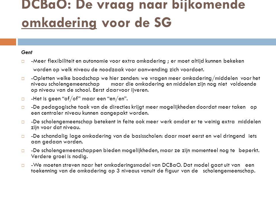 DCBaO: De vraag naar bijkomende omkadering voor de SG Gent  -Meer flexibiliteit en autonomie voor extra omkadering ; er moet altijd kunnen bekeken worden op welk niveau de noodzaak voor aanwending zich voordoet.