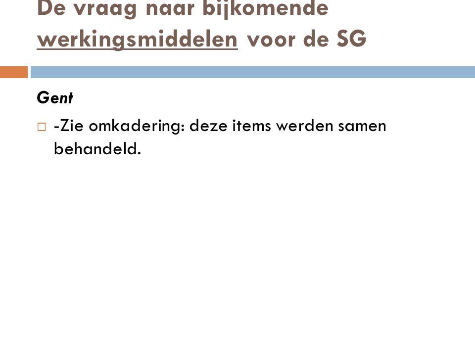 De vraag naar bijkomende werkingsmiddelen voor de SG Gent  -Zie omkadering: deze items werden samen behandeld.