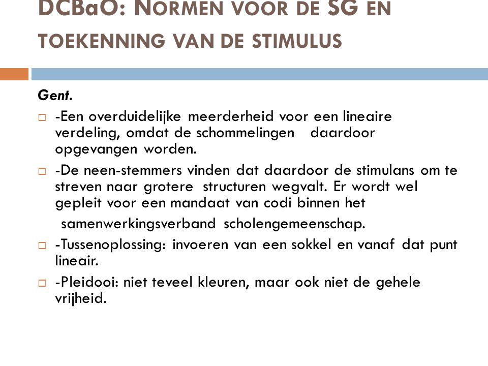 DCBaO: N ORMEN VOOR DE SG EN TOEKENNING VAN DE STIMULUS Gent.  -Een overduidelijke meerderheid voor een lineaire verdeling, omdat de schommelingen da