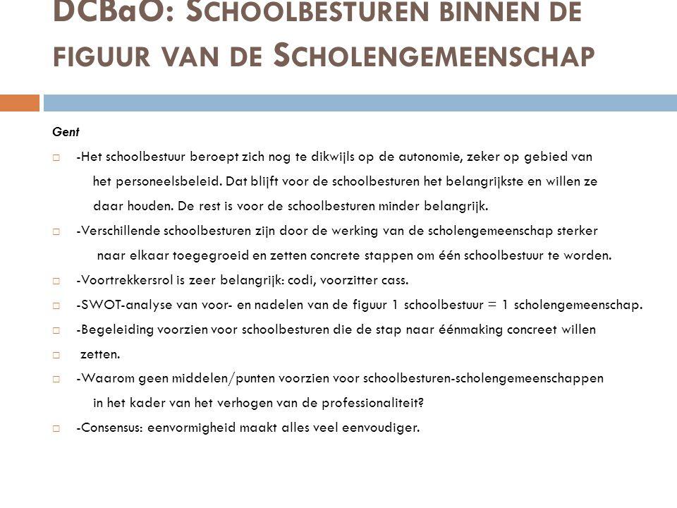 DCBaO: S CHOOLBESTUREN BINNEN DE FIGUUR VAN DE S CHOLENGEMEENSCHAP Gent  -Het schoolbestuur beroept zich nog te dikwijls op de autonomie, zeker op ge