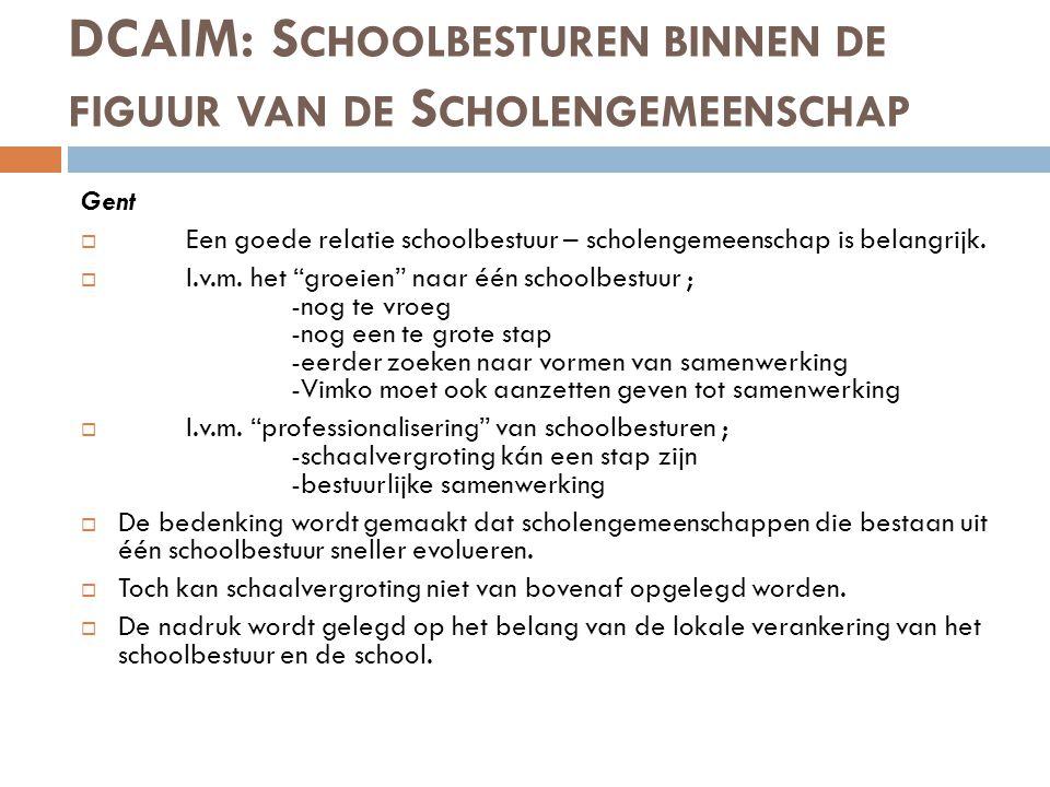DCAIM: S CHOOLBESTUREN BINNEN DE FIGUUR VAN DE S CHOLENGEMEENSCHAP Gent  Een goede relatie schoolbestuur – scholengemeenschap is belangrijk.