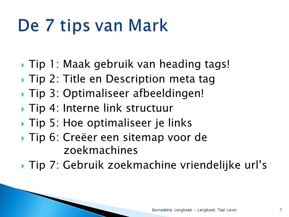  Tip 1: Maak gebruik van heading tags.