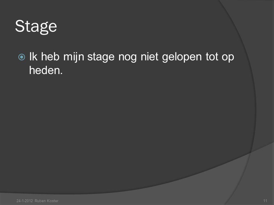 Stage  Ik heb mijn stage nog niet gelopen tot op heden. 24-1-2012 Ruben Koster11