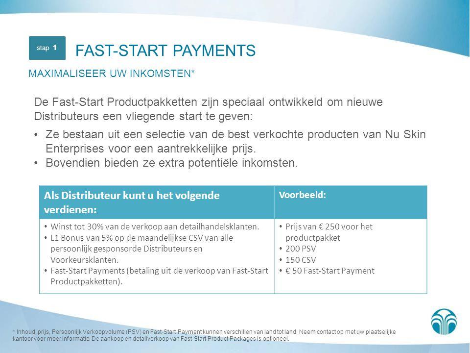 FAST-START PAYMENTS MAXIMALISEER UW INKOMSTEN* De Fast-Start Productpakketten zijn speciaal ontwikkeld om nieuwe Distributeurs een vliegende start te