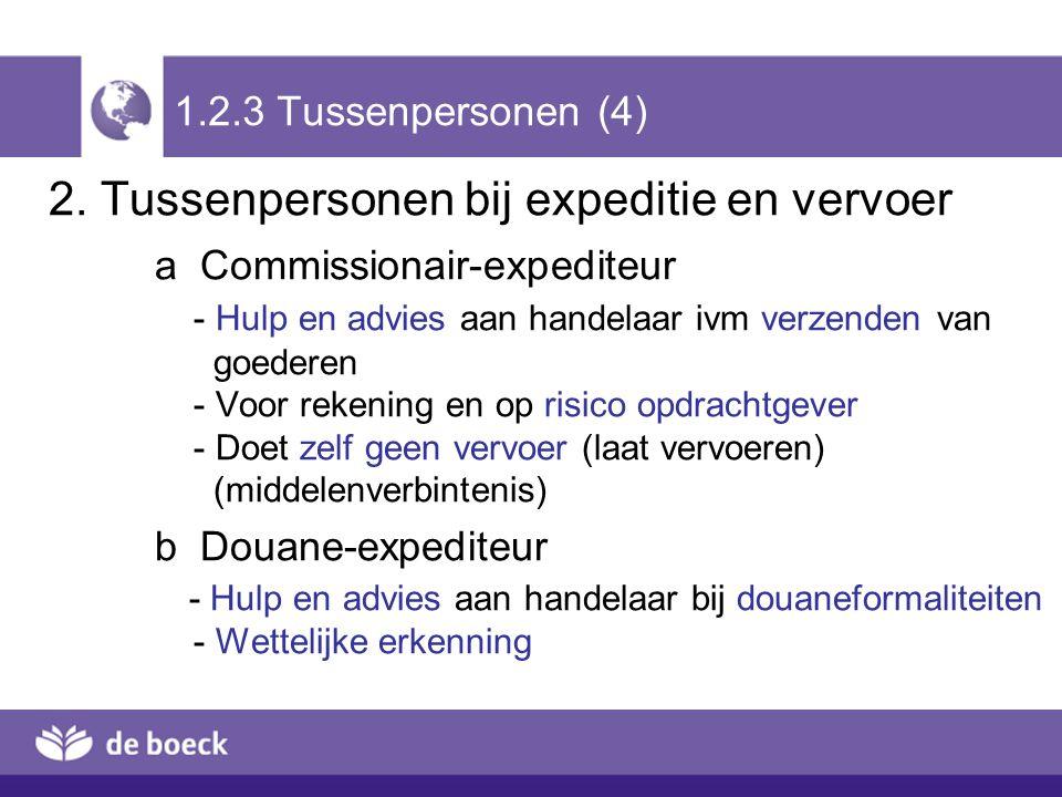 1.2.3 Tussenpersonen (4) 2. Tussenpersonen bij expeditie en vervoer a Commissionair-expediteur - Hulp en advies aan handelaar ivm verzenden van goeder