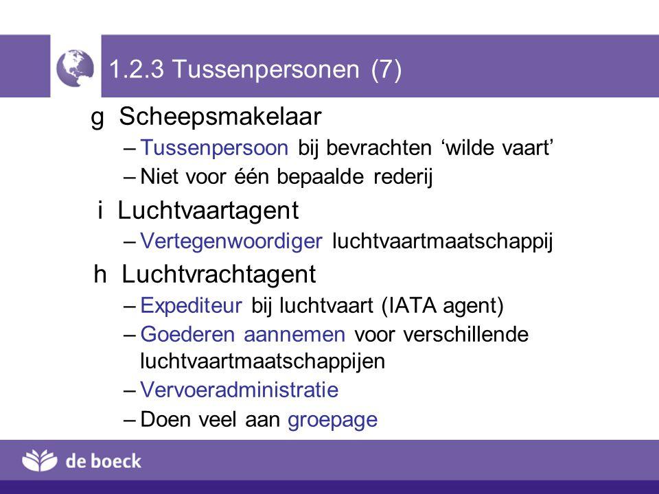 1.2.3 Tussenpersonen (7) g Scheepsmakelaar –Tussenpersoon bij bevrachten 'wilde vaart' –Niet voor één bepaalde rederij i Luchtvaartagent –Vertegenwoor