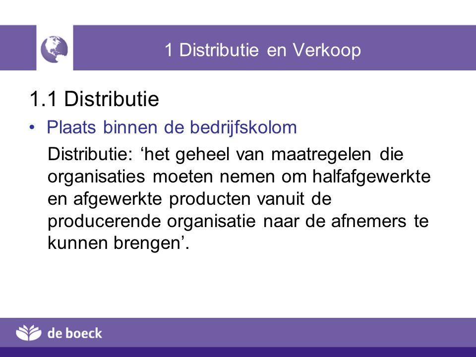1 Distributie en Verkoop 1.1 Distributie Plaats binnen de bedrijfskolom Distributie: 'het geheel van maatregelen die organisaties moeten nemen om halfafgewerkte en afgewerkte producten vanuit de producerende organisatie naar de afnemers te kunnen brengen'.