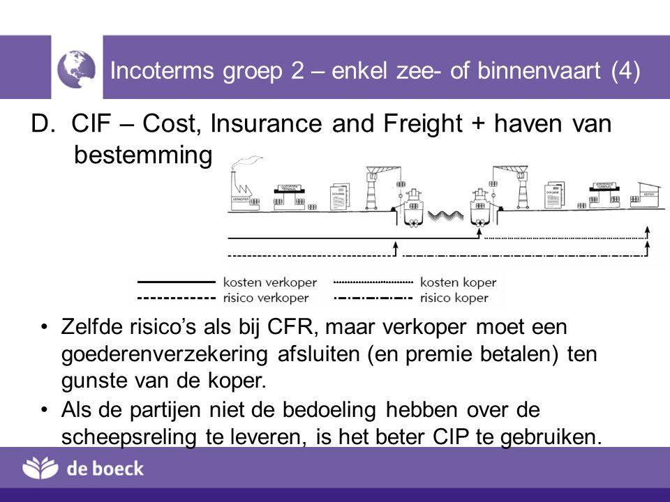D. CIF – Cost, Insurance and Freight + haven van bestemming Incoterms groep 2 – enkel zee- of binnenvaart (4) Zelfde risico's als bij CFR, maar verkop