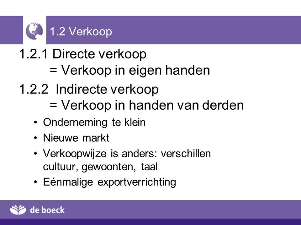 1.2.2 Indirecte export 1.Via trader (= export/importfirma) In eigen naam Sectorieel / geografisch gespecialiseerd Weinig risico voor producent