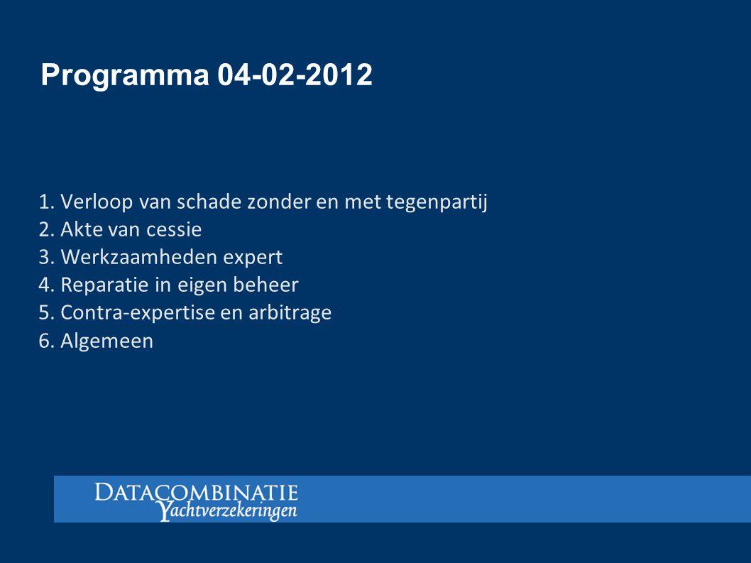 Programma 04-02-2012 1. Verloop van schade zonder en met tegenpartij 2. Akte van cessie 3. Werkzaamheden expert 4. Reparatie in eigen beheer 5. Contra