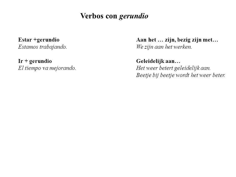 Verbos con gerundio Estar +gerundioAan het … zijn, bezig zijn met… Estamos trabajando.