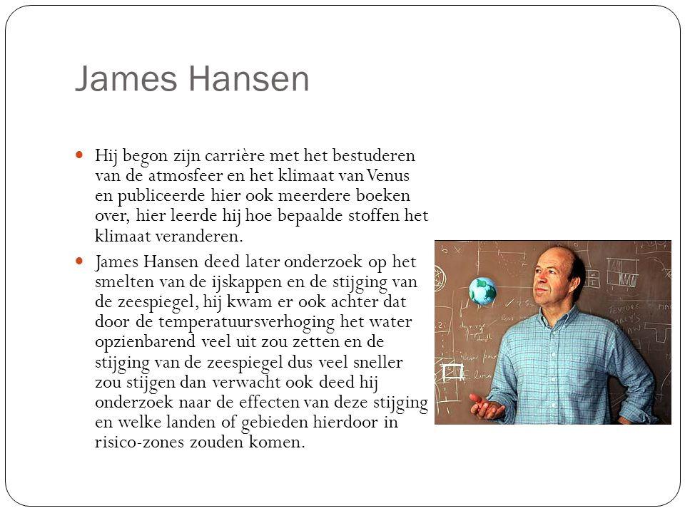 James Hansen Hij begon zijn carrière met het bestuderen van de atmosfeer en het klimaat van Venus en publiceerde hier ook meerdere boeken over, hier leerde hij hoe bepaalde stoffen het klimaat veranderen.