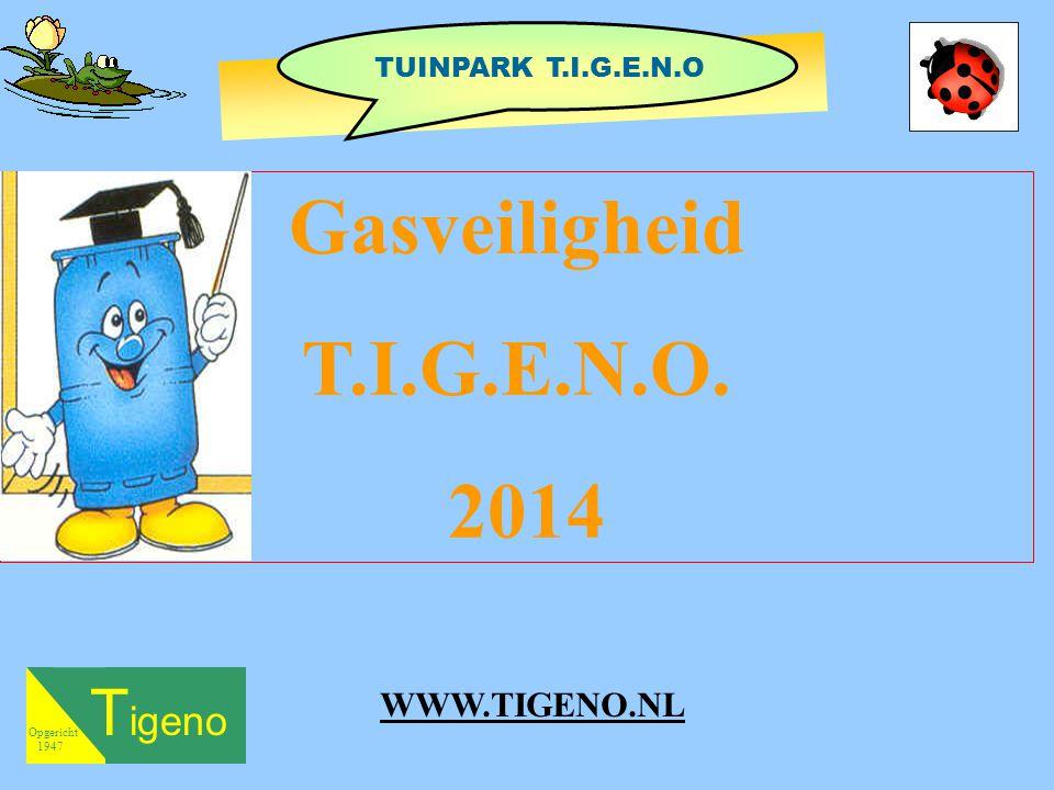 T igeno Opgericht 1947 Gasveiligheid T.I.G.E.N.O. 2014 TUINPARK T.I.G.E.N.O WWW.TIGENO.NL