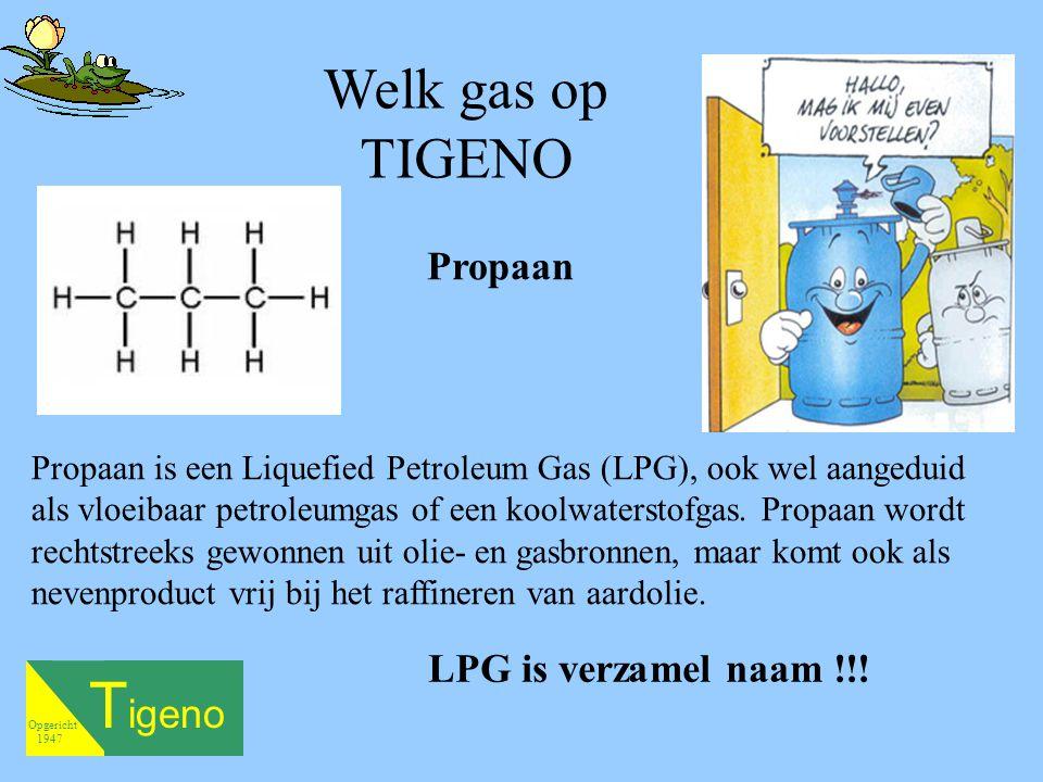 T igeno Opgericht 1947 Propaan is een Liquefied Petroleum Gas (LPG), ook wel aangeduid als vloeibaar petroleumgas of een koolwaterstofgas.
