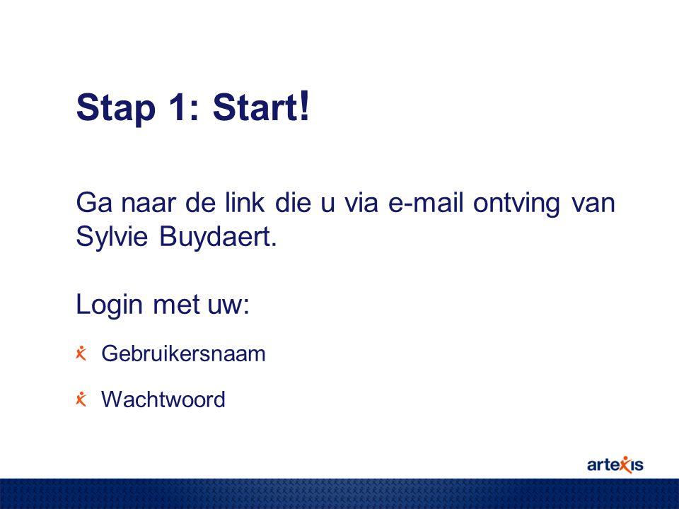 Stap 1: Start ! Ga naar de link die u via e-mail ontving van Sylvie Buydaert. Login met uw: Gebruikersnaam Wachtwoord