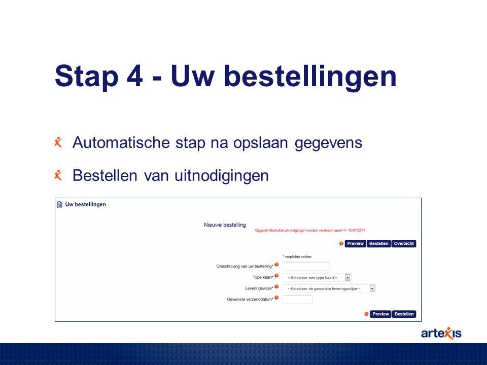 Stap 4 - Uw bestellingen Automatische stap na opslaan gegevens Bestellen van uitnodigingen