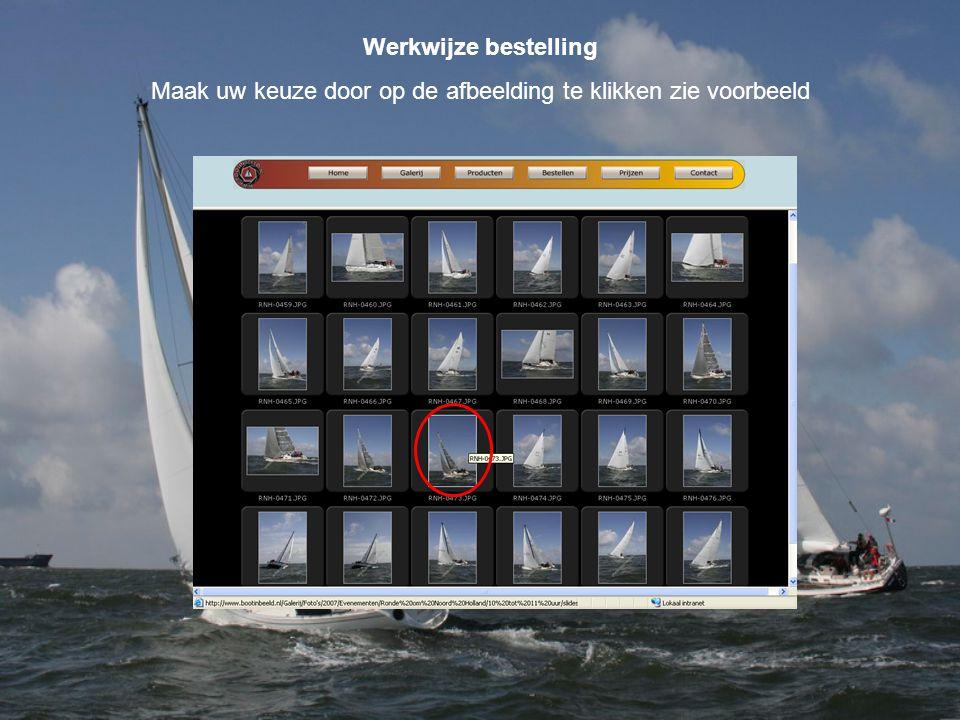 Werkwijze bestelling Maak uw keuze door op de afbeelding te klikken zie voorbeeld