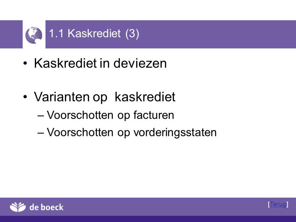 1.1 Kaskrediet (3) Kaskrediet in deviezen Varianten op kaskrediet – Voorschotten op facturen – Voorschotten op vorderingsstaten [Terug]Terug
