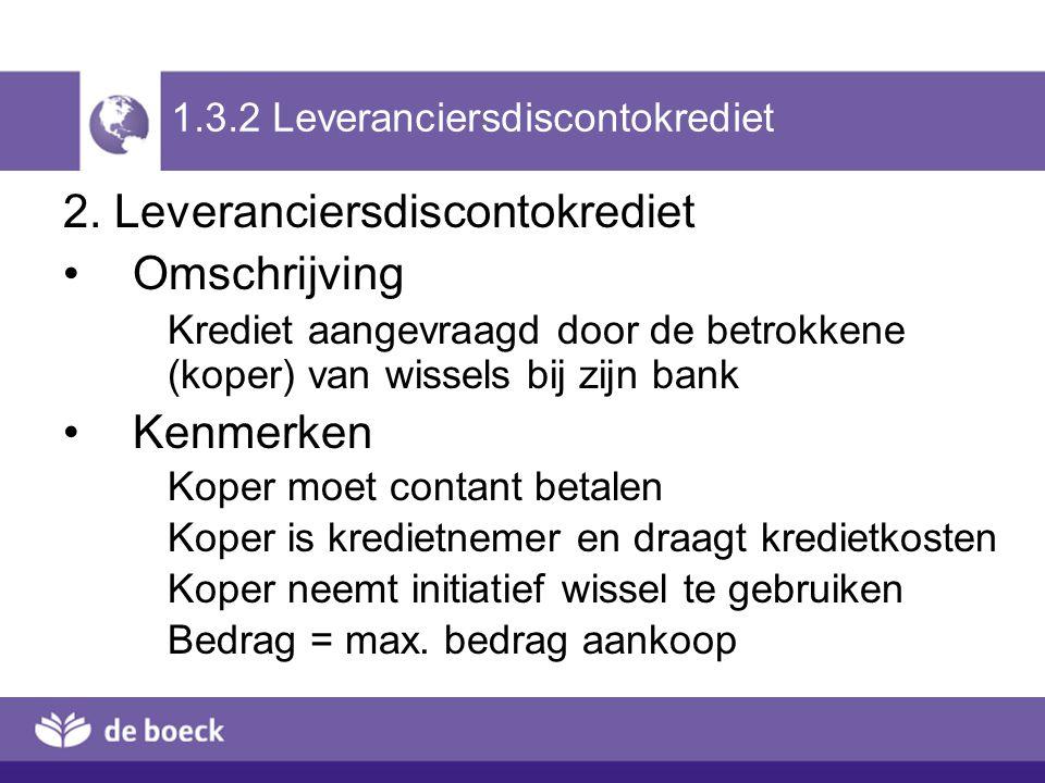 2. Leveranciersdiscontokrediet Omschrijving Krediet aangevraagd door de betrokkene (koper) van wissels bij zijn bank Kenmerken Koper moet contant beta