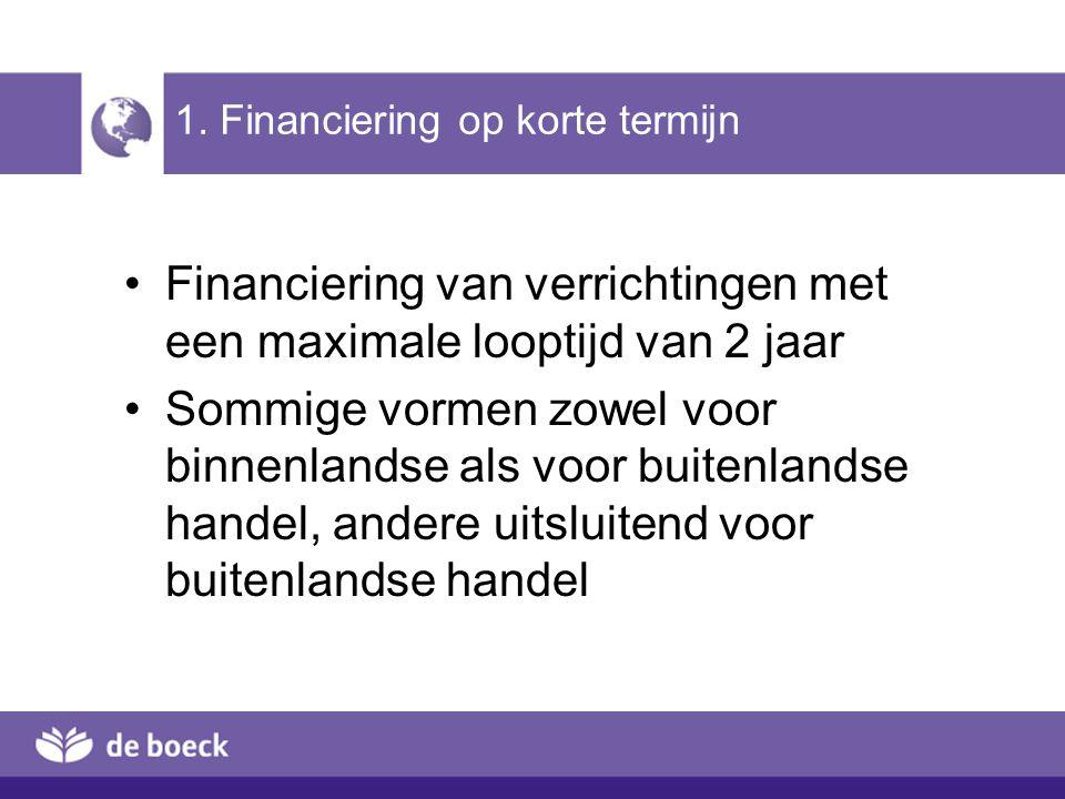 BELGISCHE EXPORTEUR BUITENLANDSE KOPER BANK EXPORTEUR BANK KOPER NDD FINEXPO Verzekeringspremie (2 ) 10 % bij levering L/C ( 3) Trekken promesses 85 % som (7) Betaling promesse op vervaldag (4) Contante betaling 85 % na disconto (8) Semestriële intrest Rentetoelage (1) 5 % bij bestelling Werking (6) Semes- triële intrest 2.2.4 Bank-tot-bankkrediet (2) (5) Betaling op vervaldag [Terug]Terug