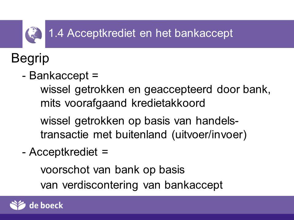 1.4 Acceptkrediet en het bankaccept Begrip - Bankaccept = wissel getrokken en geaccepteerd door bank, mits voorafgaand kredietakkoord wissel getrokken